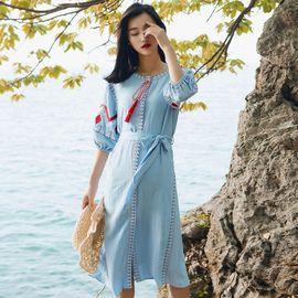 雅可希 民族风连衣裙中长款沙滩裙女夏海边度假衣服三亚巴厘岛旅游拍照裙8818