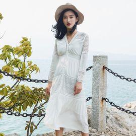雅可希 沙滩裙女夏白色连衣裙海边度假超仙长裙适合拍照的裙子马尔代夫裙6641