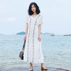 雅可希 波西米亚长裙沙滩裙女夏2019新款大码雪纺连衣裙仙女海边度假泰国8092