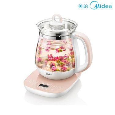 美的 电水壶 多功能加厚玻璃煎药壶煮茶水壶1.5升GE1505A 玫瑰红色