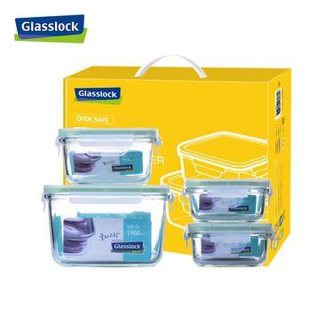 【易购】GLASSLOCK/三光云彩 钢化耐热玻璃保鲜盒 四件套 GL06 -4A