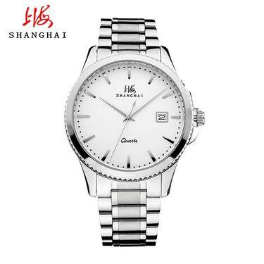 【易购】上海SHANGHAI手表国产正品石英表 金属钢带腕表石英表 情侣 表 日历 显示时尚潮流3731女士手表、男士手