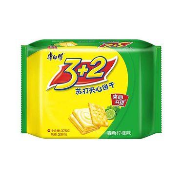 【易购】康师傅 3+2苏打夹心饼干(清新柠檬味)375g/袋 休闲零食饼干