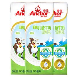 【易购】安佳(Anchor)儿童牛奶190ml*27盒家庭环保装 新西兰进口 牛奶