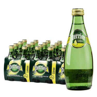 【易购】法国巴黎水perrier含气矿泉水柠檬味330ml*24瓶/箱