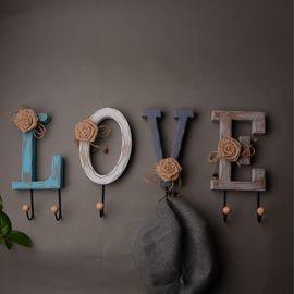YNA 创意衣帽壁挂木质装饰挂钩 love款