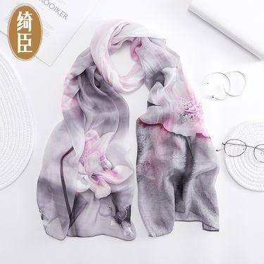 绮臣 真丝雪纺丝巾 2019年春新品桑蚕丝旅游丝巾 正品真丝雪纺围巾