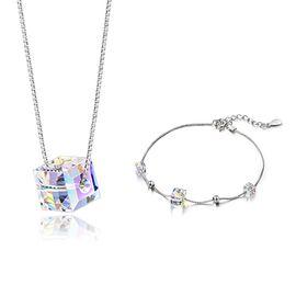 静风格 S925银悦动之心锁骨链项链施华洛世奇元素水晶项链手链玫瑰礼盒套装A1712031