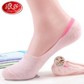 浪莎袜子女 女士纯棉船袜夏季薄款透气浅口隐形袜6双装