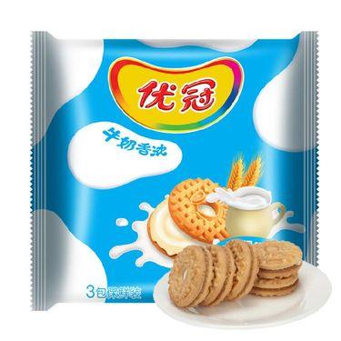 优冠牛奶特浓夹心饼干牛奶味390g(新老包装随机发货)
