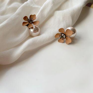 Silver S925 银防过敏个性黄色珍珠花朵花瓣耳环 buyer
