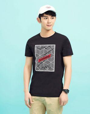 美特斯邦威 几何图形印花男式T恤短袖
