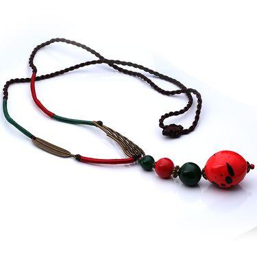 伶达 饰品欧美复古长款毛衣链波西米亚民族风手工长款项链女陶瓷坠