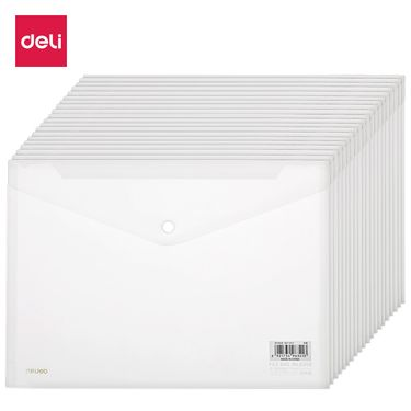得力 (deli)20只装A4透明按扣文件袋资料袋档案袋 27008