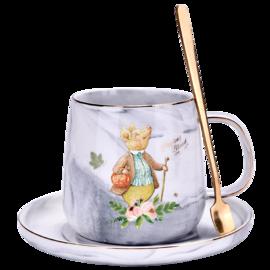 比得兔 大理石纹咖啡杯/碟(灰色)