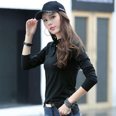 雅可希 2019韩版棉修身显瘦百搭长袖圆领女士T恤新款潮t休闲打底长袖869