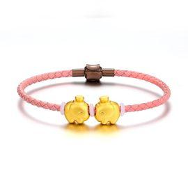 KSY 珠宝 足金转运珠 3D硬金对象皮绳黄金手串 黄金转运珠 节日礼物送女友