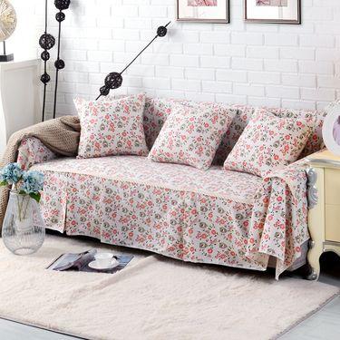 南极人 棉麻加厚布艺沙发套沙发罩 组合沙发通用沙发巾全盖-棉麻款(花鸟和鸣)