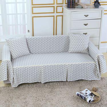 南极人 棉麻加厚布艺沙发套沙发罩 组合沙发通用沙发巾全盖-棉麻款(灰三角)