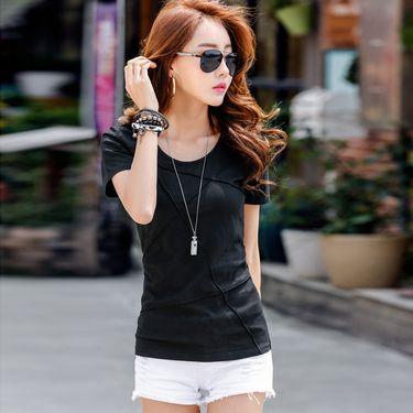 雅可希 2019夏季新款圆领套头棉短袖女士T恤上衣 韩版休闲女士T恤201512