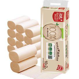 洁柔 低白度卫生纸(自然木无芯)70g12卷装