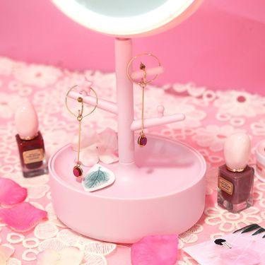 YNA LED灯台式收纳梳妆镜 粉色