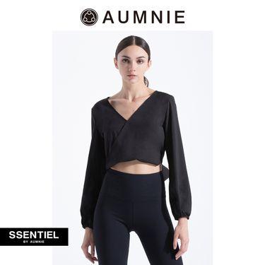 aumnie 澳弥尼丨女士2018秋冬新款显瘦美背V领露背衫