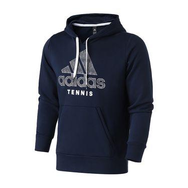 Adidas 男服卫衣2019新款网球连帽开衫休闲运动服DU5336