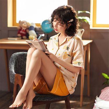 苏吉思 开衫睡衣女短袖短裤纯棉翻领家居服春夏少女短袖时尚可爱韩版套装LP-545