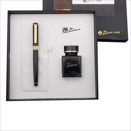 pimio 毕加索钢笔902钢笔墨水套 装礼盒男女士练字书写书法笔商务定制金属笔 纯黑金夹 0.5mm