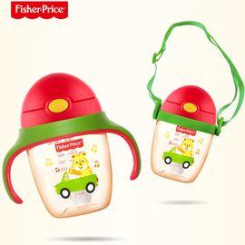 Fisher-Price/费雪牌  PPSU学饮杯婴儿防漏防呛6-18个月宝宝鸭嘴带手柄吸管两用水杯-配背带