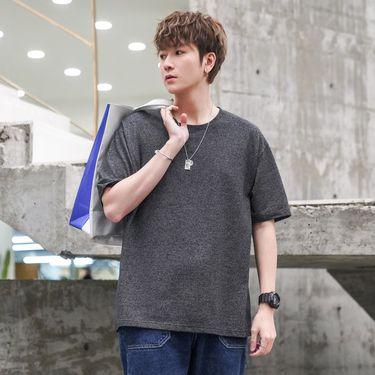 库依娜 2019新款夏季男士短袖t恤修身圆领男生体恤打底衫韩版潮流男装半ZX1919