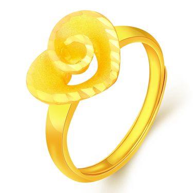 翠绿 黄金戒指 足金999黄金女戒求婚戒指爱心玫瑰珍爱一生A01000021241