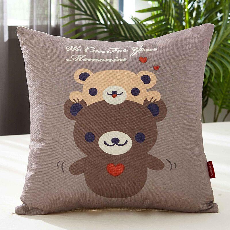 九洲鹿 卡通亚麻风格抱枕沙发靠垫办公室靠枕床头靠背汽车护腰靠垫腰枕垫含芯 宝贝熊 45x45cm